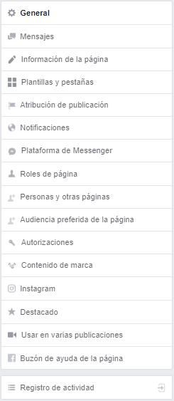 Menú Facebook Page