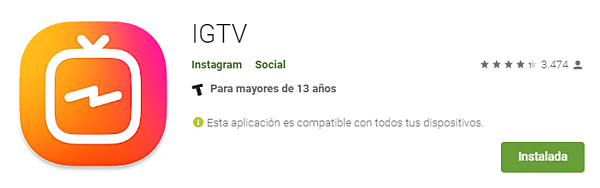 IGTV descarga en google play store